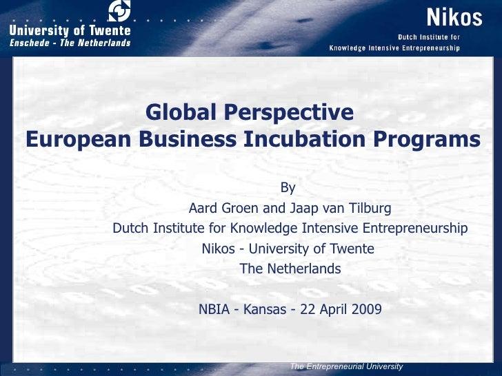 Global Perspective  European Business Incubation Programs By  Aard Groen and Jaap van Tilburg Dutch Institute for Knowledg...
