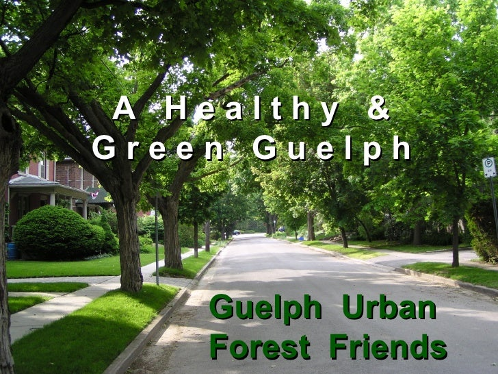 A  H e a l t h y  & G r e e n  G u e l p h Guelph  Urban Forest  Friends