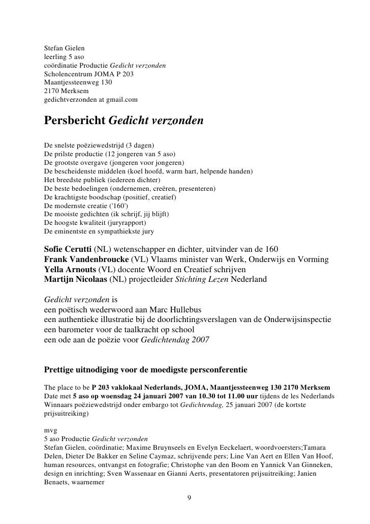 Gedicht Verzonden Een Literatuurdidactisch Model Janien