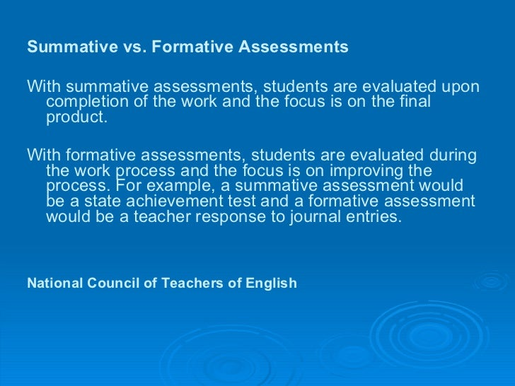 Formative Assessment Vs Summative Assessment