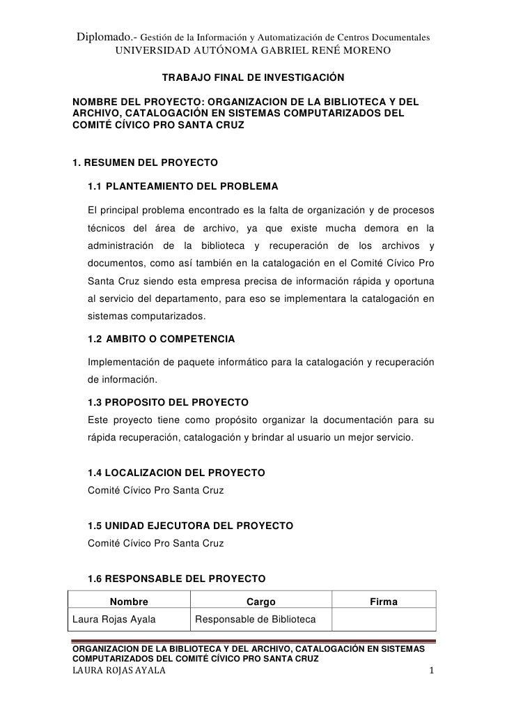 Diplomado.- Gestión de la Información y Automatización de Centros Documentales          UNIVERSIDAD AUTÓNOMA GABRIEL RENÉ ...