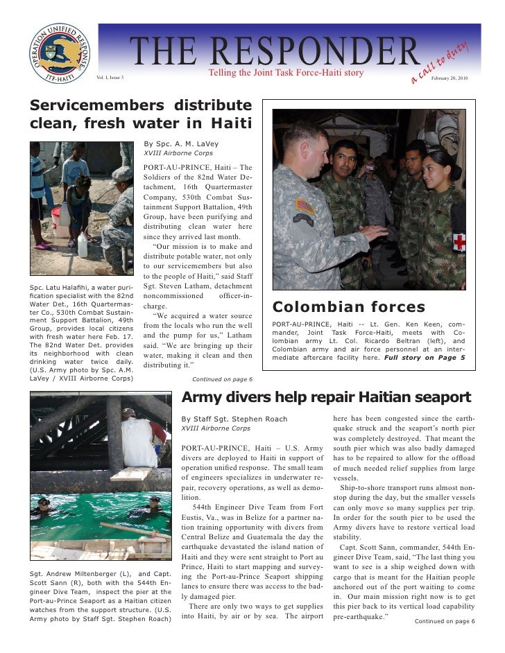 Vol. I, Issue 3                                        THE RESPONDER       Telling the Joint Task Force-Haiti story       ...