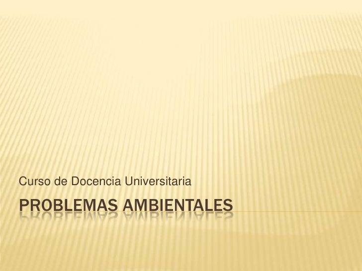 Problemas ambientales<br />Curso de Docencia Universitaria<br />