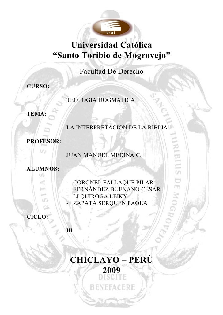 """Universidad Católica          """"Santo Toribio de Mogrovejo""""                    Facultad De Derecho CURSO:              TEOL..."""