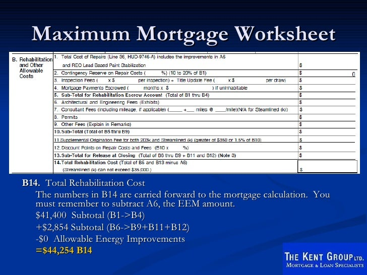 Fha 203k Worksheet  Sharebrowse