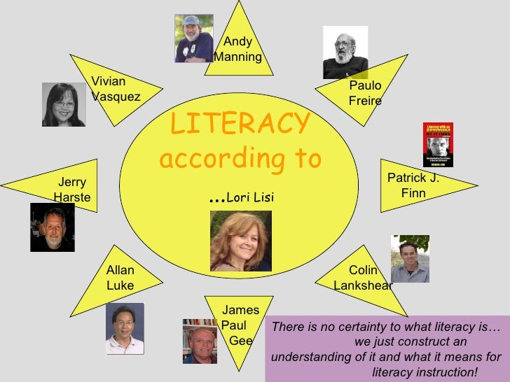 There is no certainty to what literacy is…  we just construct an understanding of it and what it means for  literacy instr...