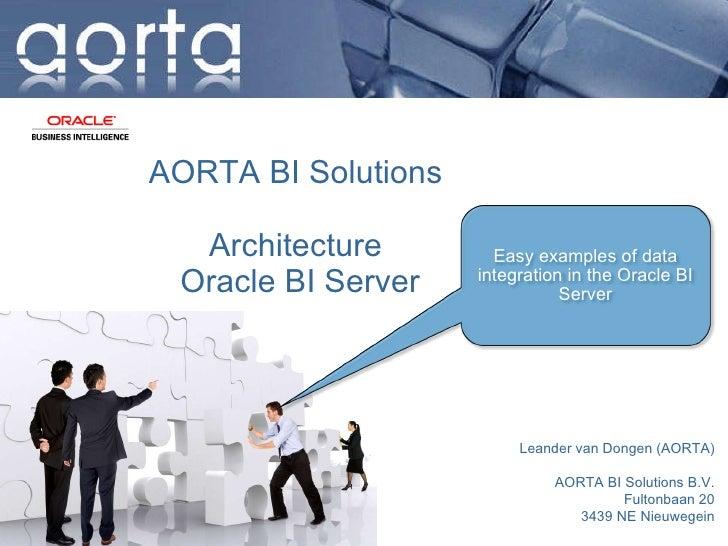 Aorta business intelligence Architecture OBIEE BI Server The Netherlands, Waalwijk, june 2010 Leander van Dongen, Aorta bu...