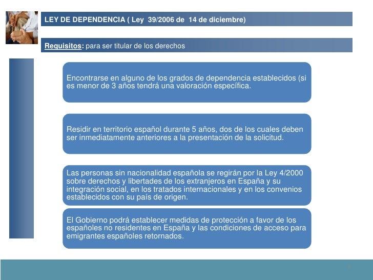 LEY DE DEPENDENCIA ( Ley 39/2006 de 14 de diciembre)   Requisitos: para ser titular de los derechos          Encontrarse e...