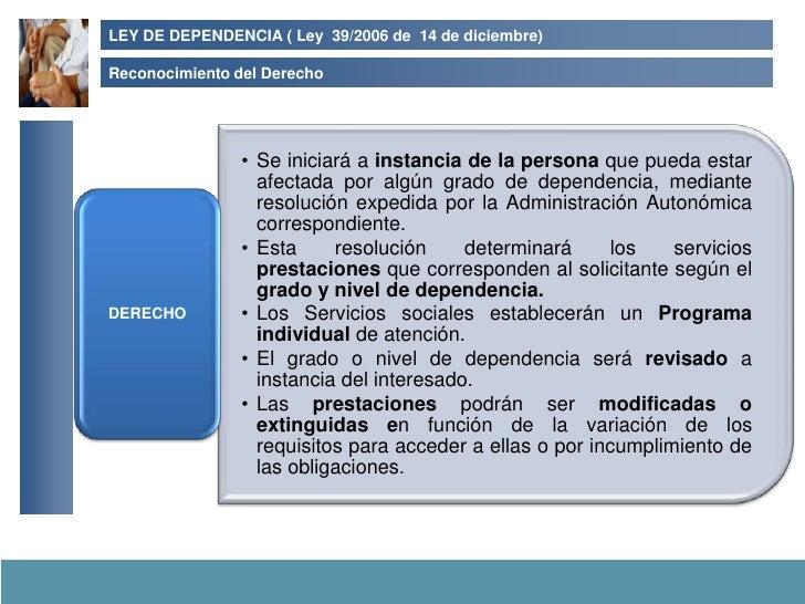 LEY DE DEPENDENCIA ( Ley 39/2006 de 14 de diciembre)  Reconocimiento del Derecho                     • Se iniciará a insta...