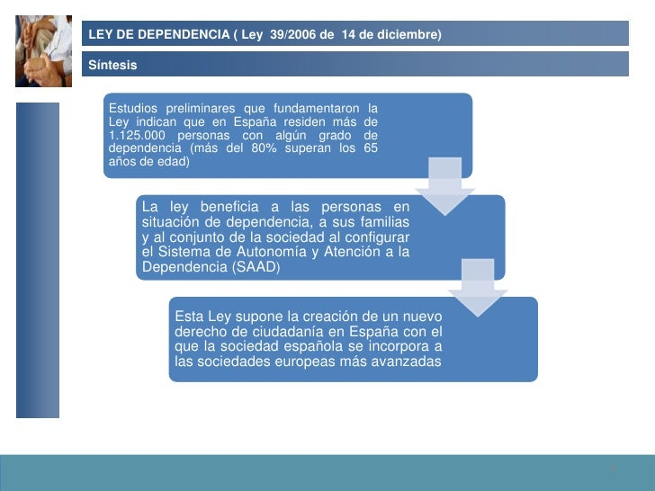 LEY DE DEPENDENCIA ( Ley 39/2006 de 14 de diciembre)  Síntesis      Estudios preliminares que fundamentaron    la    Ley i...