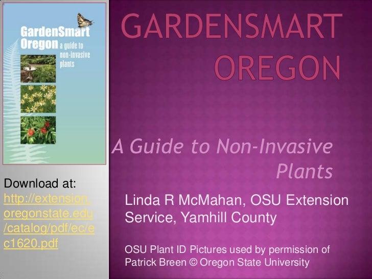 GardenSmart Oregon<br />A Guide to Non-Invasive Plants<br />Download at: <br />http://extension.oregonstate.edu/catalog/pd...