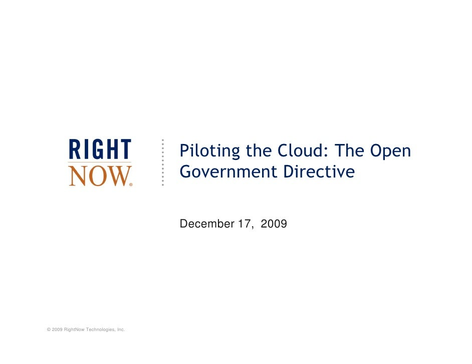 Piloting the Cloud: The Open                                      Government Directive                                    ...