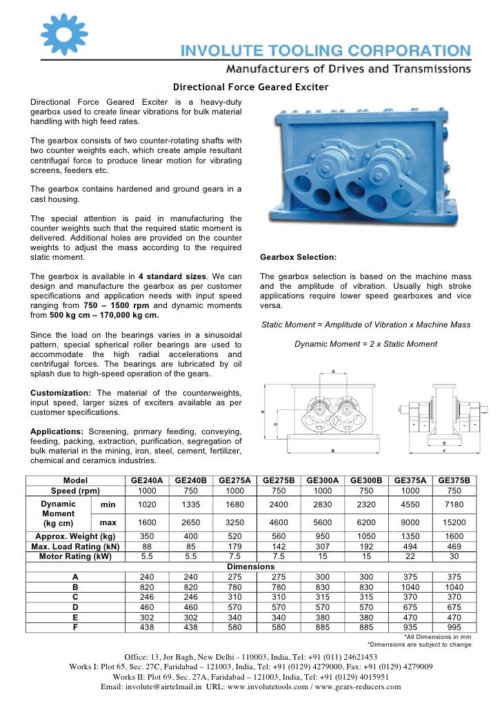 Directional Force Geared Exciter Directional Force Geared Exciter is a heavy-duty gearbox used to create linear vibrations...