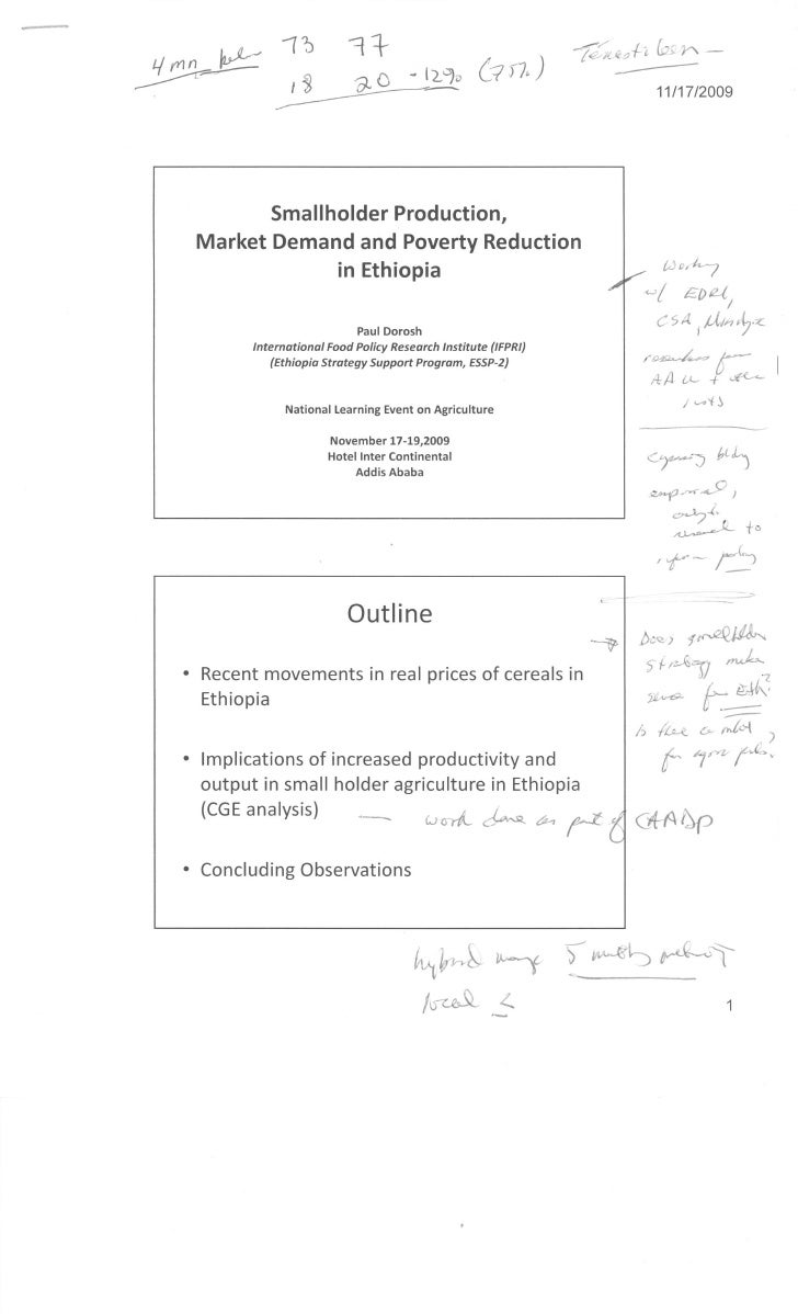 Smallholder production, Market Demand and Poverty Reduction in Ethioipa