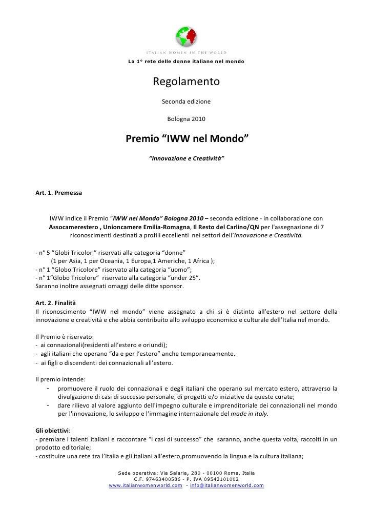 La 1° rete delle donne italiane nel mondo                                               Regolamento                       ...