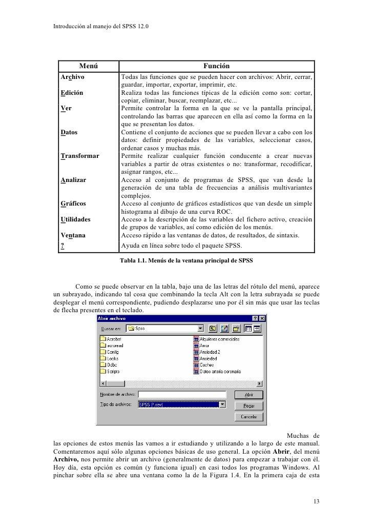Introducción al manejo del SPSS 12.0               Menú                                         Función   Archivo         ...