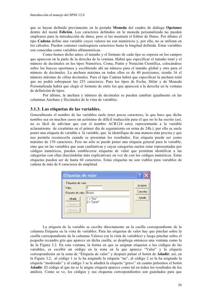 Introducción al manejo del SPSS 12.0   que se hayan definido previamente en la pestaña Moneda del cuadro de diálogo Opcion...