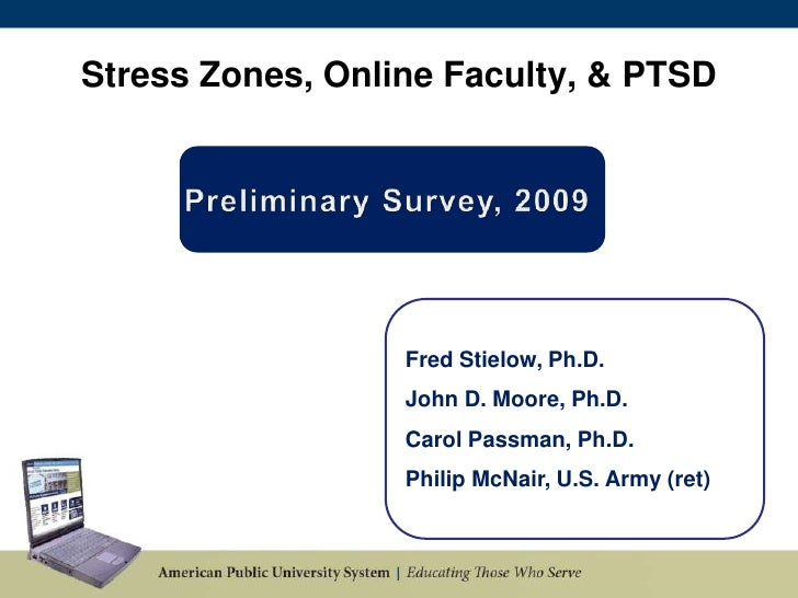 Stress Zones, Online Faculty, & PTSD<br />Preliminary Survey, 2009 <br />Fred Stielow, Ph.D.<br />John D. Moore, Ph.D.<br ...