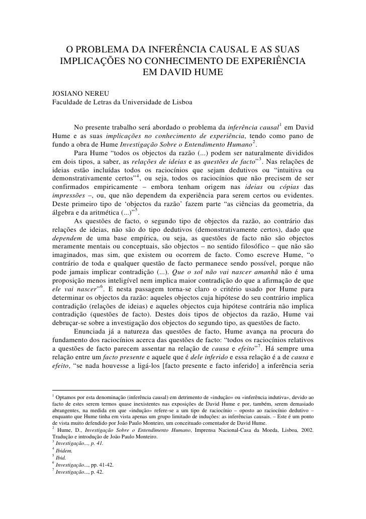 O PROBLEMA DA INFERÊNCIA CAUSAL E AS SUAS     IMPLICAÇÕES NO CONHECIMENTO DE EXPERIÊNCIA                   EM DAVID HUME  ...
