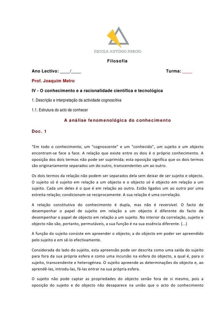 Filosofia  Ano Lectivo: ____/____                                                             Turma: ____  Prof. Joaquim M...