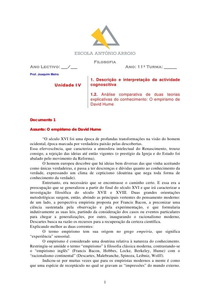 Filosofia Ano Lectivo: ___/___                                   Ano: 11º Turma: ______ Prof. Joaquim Melro               ...