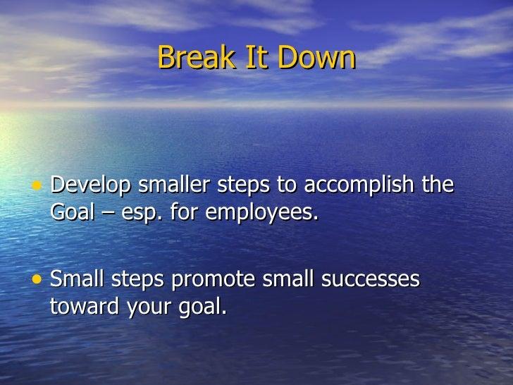 Break It Down <ul><li>Develop smaller steps to accomplish the Goal – esp. for employees. </li></ul><ul><li>Small steps pro...