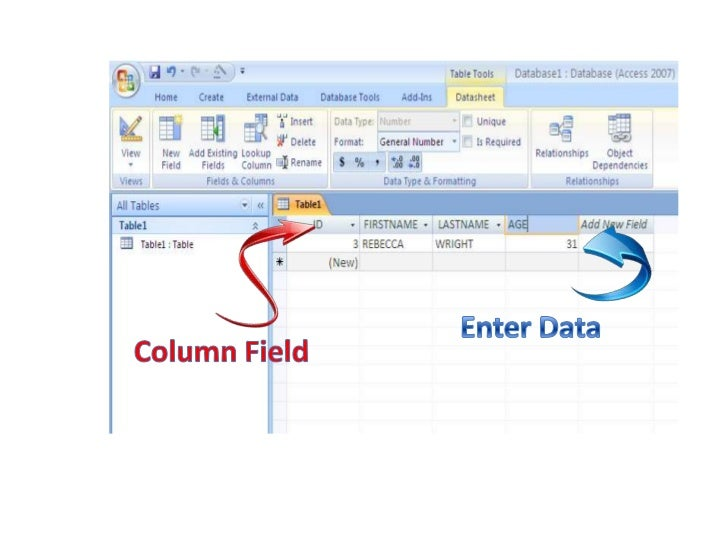 how to create student database in access 2007