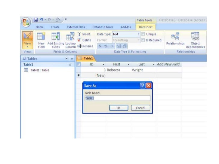 How to Create A Microsoft Access 2007 Database