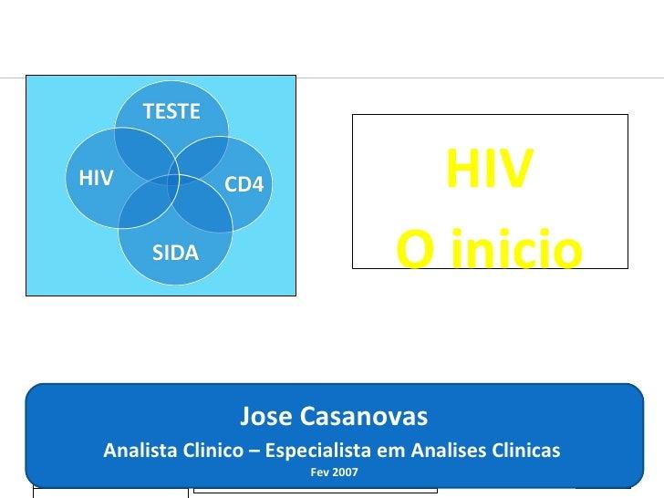 20-02-2009 Jose Casanovas Jose Casanovas Analista Clinico – Especialista em Analises Clinicas  Fev 2007 HIV O inicio