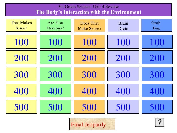 5th Grade Science: Unit 4 Review The Body's Interaction with the Environment 100 200 300 400 500 100 200 300 400 500 100 2...