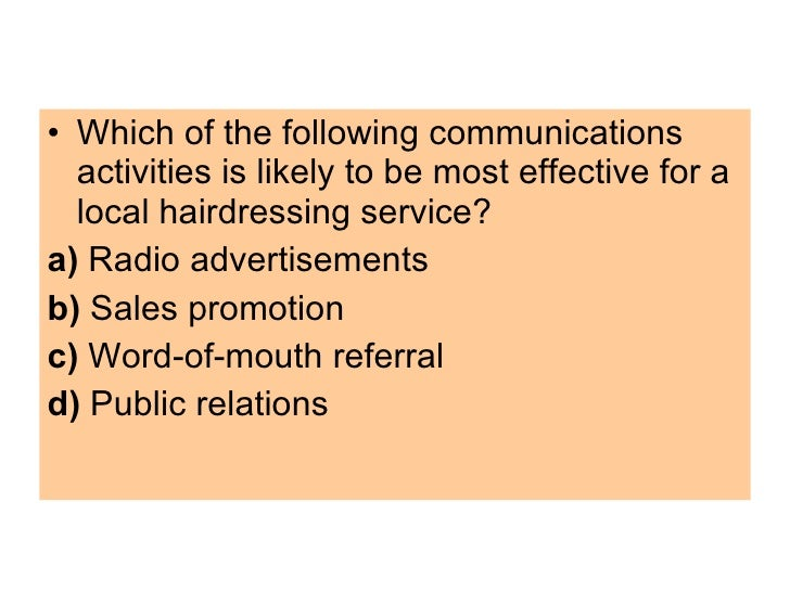 marketing assesment 6 8 questions There are thousands of possible marketing questions based on the types of marketing the company already implements, the types that are affected by its products and its competitors, the cost of the product and the budget available for marketing the product.