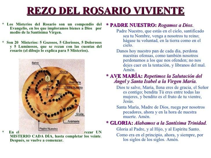REZO DEL ROSARIO VIVIENTE <ul><li>* Los Misterios del Rosario son un compendio del Evangelio, en los que imploramos bienes...