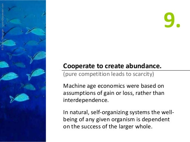 Cooperate to create abundance. (pure competition leads to scarcity) Machine age economics were based on assumptions of gai...