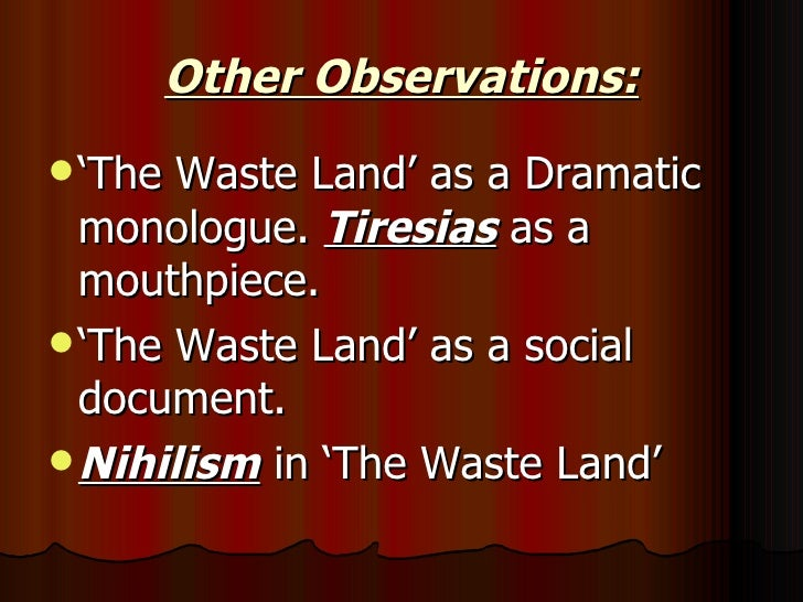the focus of the poem the wasteland on the disillusionment of a generation Ts eliot's poem the waste land is 433 lines long, and includes five parts  the wasteland  it showed the spiritual breakup of the post-war generation and an .