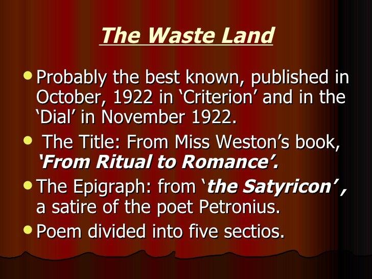 eliot t s 1922 the waste land bartlebycom - 728×546
