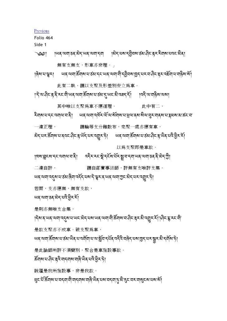 Previous Folio 464 Side 1 (k k9,-;#-%,-1{+-9,-;#-+# k1{+-.=-+Am0=-21-<m$-K:-:m#=-.8$-1m,k             無有支無支,形車亦非理。」 k6{=-....