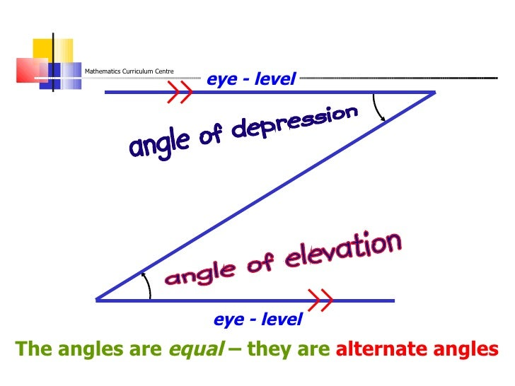 Angle Of Elevation Lesson Plan : Angles of depression elevation manicurex