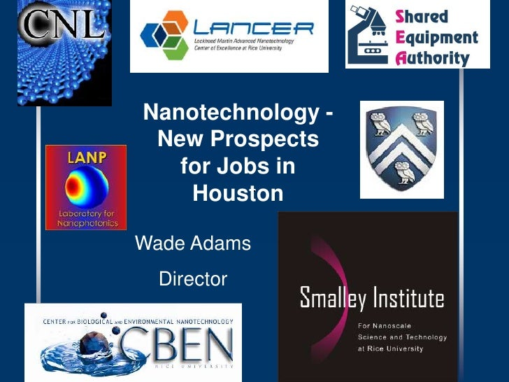 Nanotechnology - New Prospects for Jobs in Houston<br />Wade Adams<br />Director<br />
