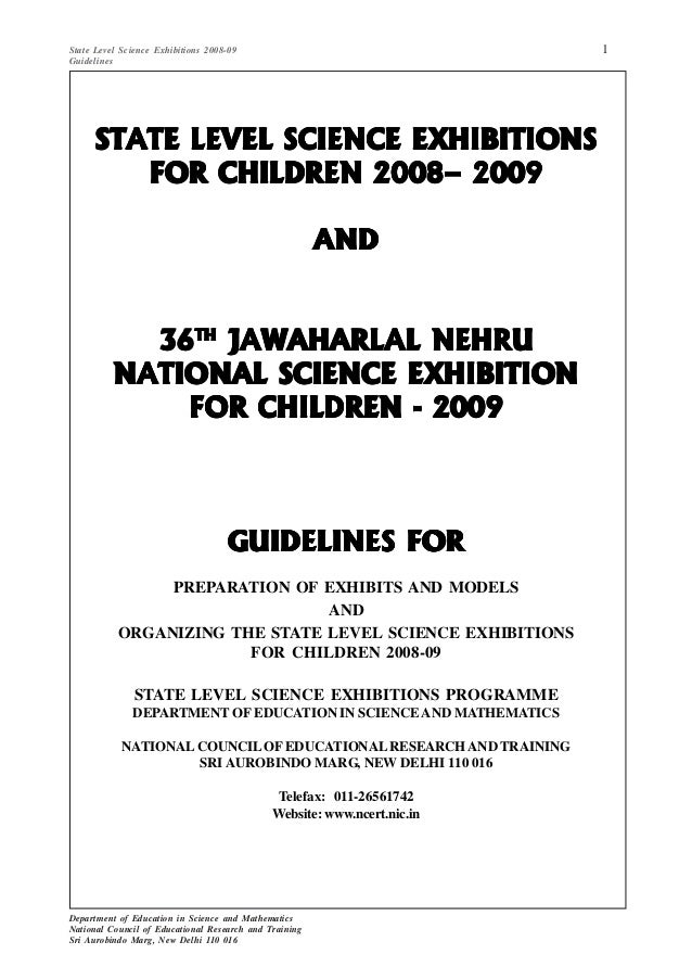 1State Level Science Exhibitions 2008-09 Guidelines Department of Education in Science and Mathematics National Council of...