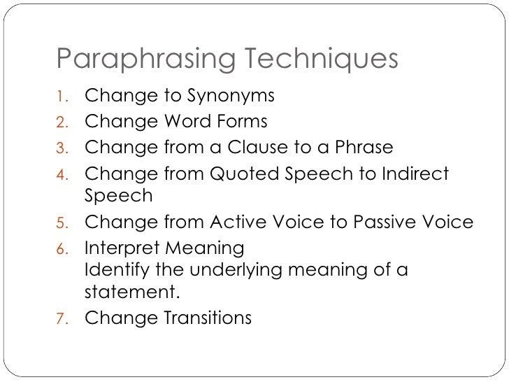 Paraphrasing transition words