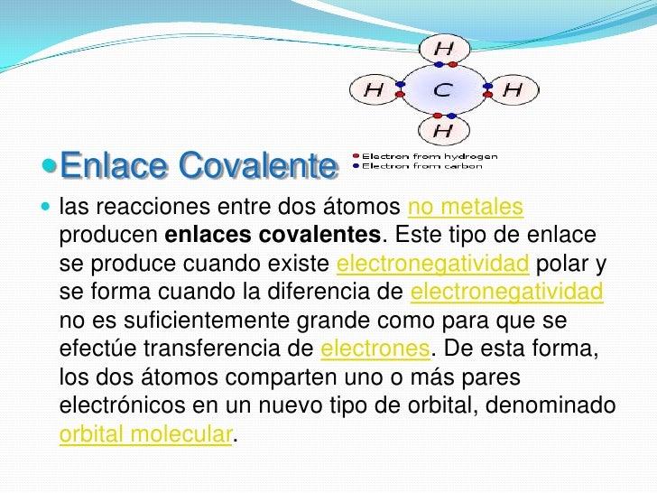 Enlace Covalente<br />las reacciones entre dos átomos no metales producen enlaces covalentes. Este tipo de enlace se produ...