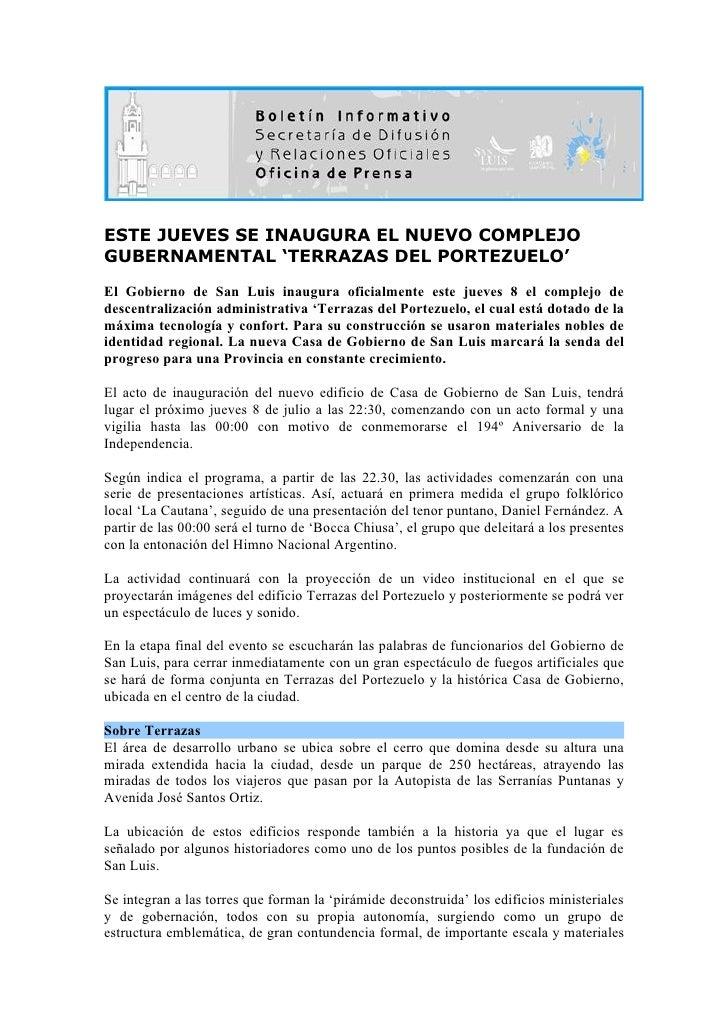 ESTE JUEVES SE INAUGURA EL NUEVO COMPLEJO GUBERNAMENTAL 'TERRAZAS DEL PORTEZUELO' El Gobierno de San Luis inaugura oficial...