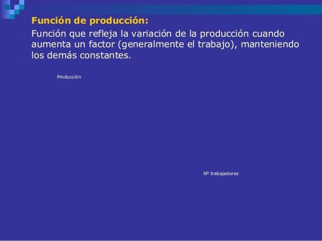 Función de producción:Función que refleja la variación de la producción cuandoaumenta un factor (generalmente el trabajo),...