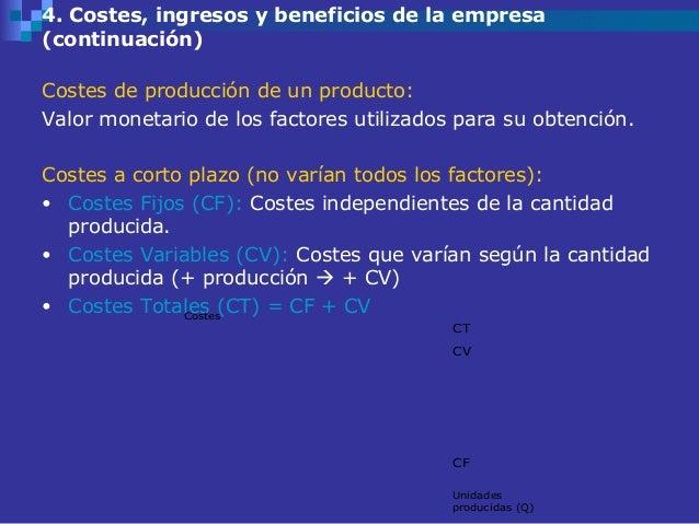 4. Costes, ingresos y beneficios de la empresa(continuación)Costes de producción de un producto:Valor monetario de los fac...