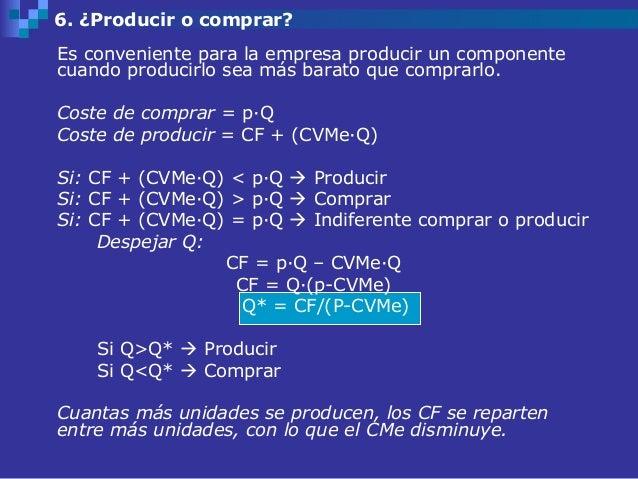 6. ¿Producir o comprar?Es conveniente para la empresa producir un componentecuando producirlo sea más barato que comprarlo...