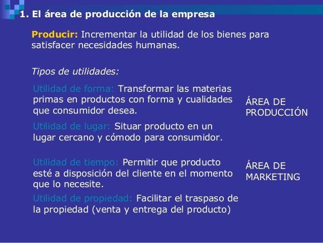 1. El área de producción de la empresa  Producir: Incrementar la utilidad de los bienes para  satisfacer necesidades human...