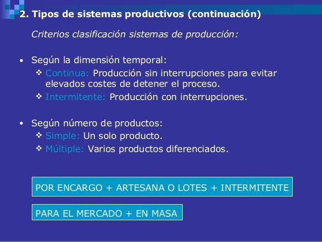 2. Tipos de sistemas productivos (continuación)  Criterios clasificación sistemas de producción:• Según la dimensión tempo...
