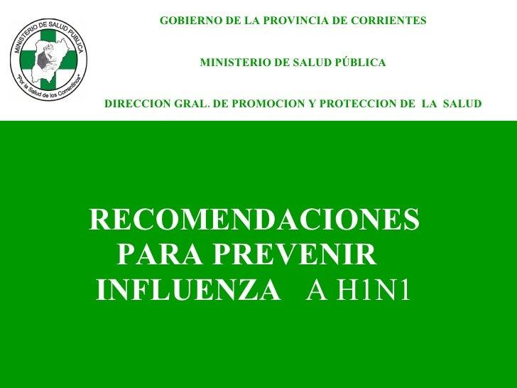 RECOMENDACIONES  PARA PREVENIR  INFLUENZA  A H1N1   GOBIERNO DE LA PROVINCIA DE CORRIENTES MINISTERIO DE SALUD PÚBLICA DIR...