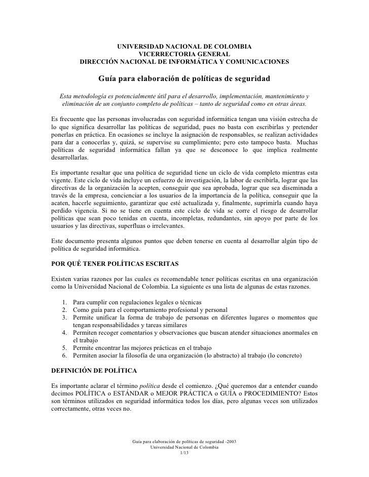 UNIVERSIDAD NACIONAL DE COLOMBIA                          VICERRECTORIA GENERAL            DIRECCIÓN NACIONAL DE INFORMÁTI...