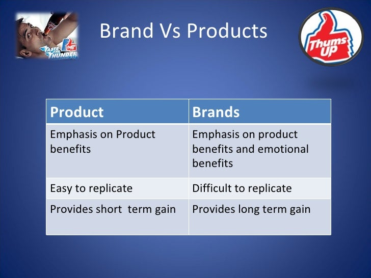 Brand Vs Products Product Brands Emphasis on Product  benefits Emphasis on product benefits and emotional benefits Easy to...